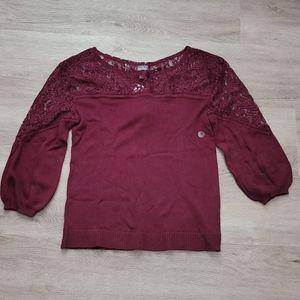NY&C Wine Lace Detail 3/4 Sleeve Knit Sweater